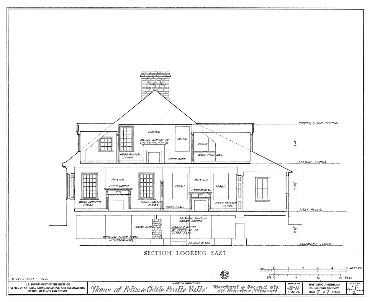 File drawing of a section looking east of the felix vallee for House map drawing