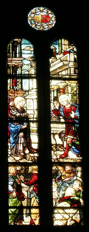 Arezzo Cathedral - Vocation of St. Matthew, by Guillaume de Marcillat  (1519-1521).