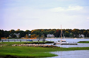 Duxbury, Massachusetts - View of Bluefish River inlet with King Caesar House in background (left)
