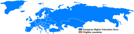 Blue map of Eurasia and Greenland, with Monaco and San Marino in orange
