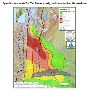 Huincul Fault - Map of Vaca Muerta Formation in Neuquén Basin. The formations extent mimics that of the basin. Colors indicate hydrocarbon maturity as measured by vitrinite reflectance. Huincul basement high is shown in grey.