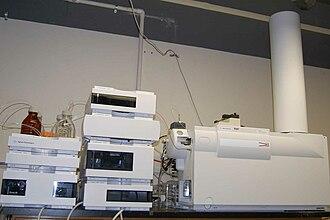 Time-of-flight mass spectrometry - Agilent 6210 electrospray ionization orthogonal time-of-flight mass spectrometer (right) and HPLC (left)