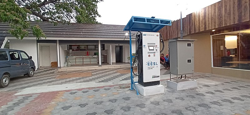 File:EV charging station near KMML in Kollam, Feb 2021.jpg