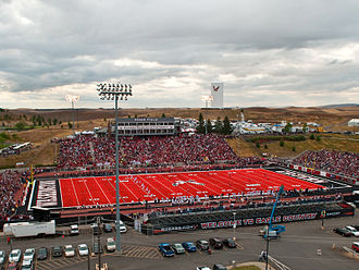 Eastern Washington Eagles football - Roos Field with red turf installed in 2010