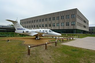 The Welding Institute - Friction stir welded Eclipse 500 in front of the new conference centre of TWI at Granta Park