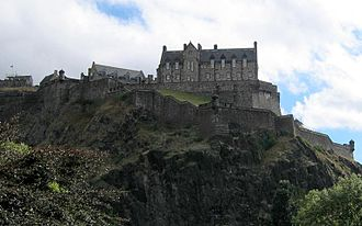 Y Gododdin - Edinburgh Castle viewed from Princes Street: Around 600 AD, this may have been the site of the hall of Mynyddog Mwynfawr, where the warriors feasted before setting forth to battle.