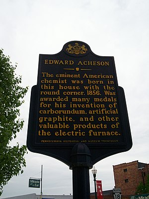 Edward Goodrich Acheson - Historical marker for the birthplace of Edward Acheson in Washington, Pennsylvania