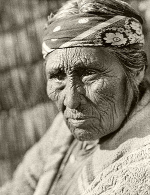 Native American recognition in the United States - Elderly Klamath woman by Edward S. Curtis, 1924