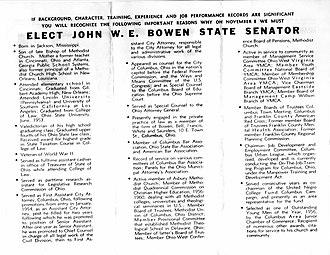 John W. Bowen - Image: Elect John W.E. Bowen State Senator 1966 2 of 2