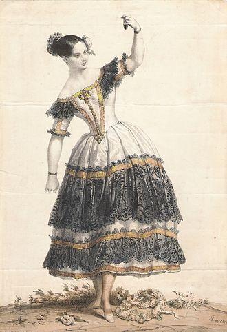 Fanny Elssler - Fanny Elssler as Florinda in the dance La Cachucha from the 1836 Coralli/Gide ballet Le Diable boiteux. Paris, 1836