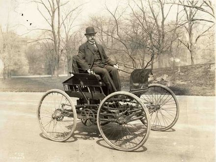 Elwood Haynes driving in his first automobile, the 1894 Pioneer, photo taken c. 1910 Elwood Haynes in his first automobile, the Pioneer, c 1910.jpg