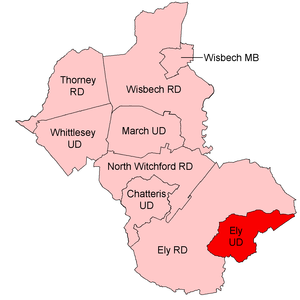 Ely Urban District - Position within Isle of Ely