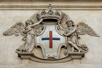 Trinitarian Order - Stone shield of the Trinitarian Order on the façade of San Carlo alle Quattro Fontane (1638-1641) in Rome.