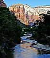 Emerald Pools Trail, Sunset on Virgin River 4-29-14 (14179697074).jpg