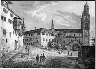 Carolinum, Zürich - Carolinum and Grossmünster on a drawing by Emil Schulhess in 1835