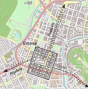 Emona - Location of Emona in modern Ljubljana