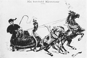 """Vikingen - A dangerous ride during the impeachment in Norway, 1884. Caricature drawn for Vikingen by Olaf """"Filou"""" Krohn."""