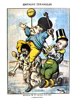"""Constantin Dobrescu-Argeș - """"The peasant's caretakers"""" Brătianu and Lascăr Catargiu, as depicted by the socialist cartoonist Tantal in 1889"""