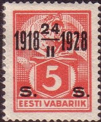 Postage stamps and postal history of Estonia - 1928: Estonia´s 10th anniversary. Overprint