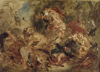 <i>The Lion Hunt</i> (Delacroix) 1855 painting by Eugène Delacroix