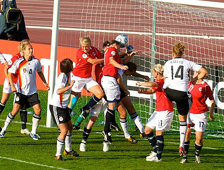 Players fighting for the ball during the match between Germany and Norway in UEFA Euro 2009 Women's European Championship in Tampere, Finland. Euro 2009 - Germany-Norway - Goal Scrum 239.jpg