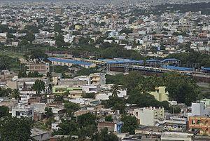 Falaknuma – Secunderabad route (Hyderabad Multi-Modal Transport System) - Falaknuma Railway station as seen from Taj Falaknuma in 2013