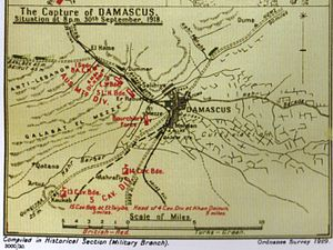Charge at Khan Ayash - Falls Sketch Map 39 detail Capture of Damascus