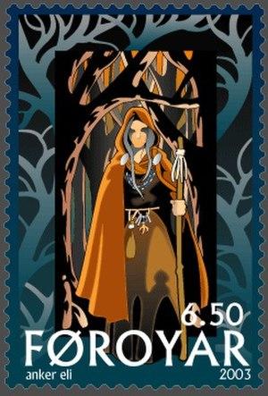 Völva - A depiction of a vǫlva on a Faroese stamp by Anker Eli Petersen (2003).