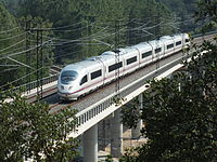 Fast Train Spain Class 103 AVE Siemens Bridge Macanet-Massanes.JPG