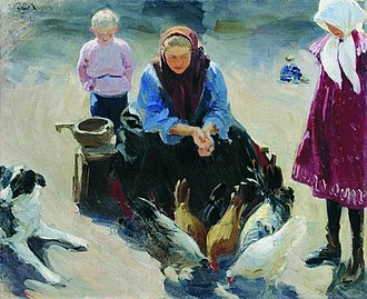 Ivan Kulikov - Image: Feeding chickens by Ivan Kulikov