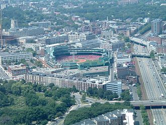 Fenway–Kenmore - Aerial view of West Fenway and Kenmore showing the Back Bay Fens (lower left), Fenway Park (center) and the edge of Kenmore Square (right).