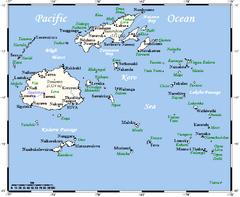 Fiĝioj-mapo montrante Koro Sean kaj Koro Island