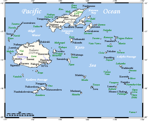 Koro Sea - Fiji map showing Koro Sea and Koro Island
