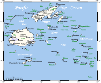Geography of Fiji - Fiji closeup map (not included: Ceva-i-Ra in the southwest and Rotuma in the north