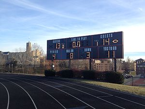 Tabor Bluejays - Photo of the scoreboard at the end of the game, first round NAIA Football Championships Tabor vs Benedictine 2013