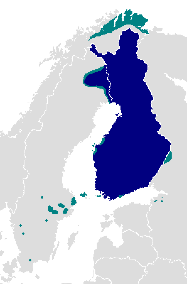 Finnish language map, detailed areas