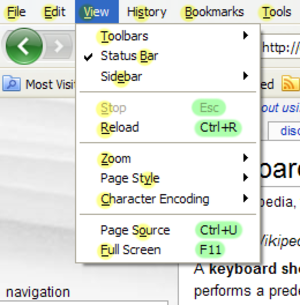 Keyboard shortcut - Firefox 3.0 menu with shortcuts, highlighted with green and mnemonics highlighted with yellow.