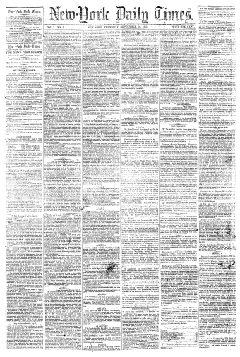 First published issue of New-York Daily Times, on September 18, 1851 First NYTimes frontpage (1851-9-18).png