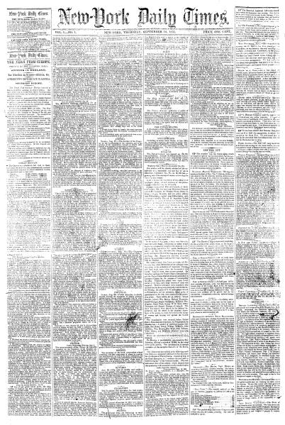 Portada de la primera edición del diario The New York Times, el 18 de septiembre de 1851.