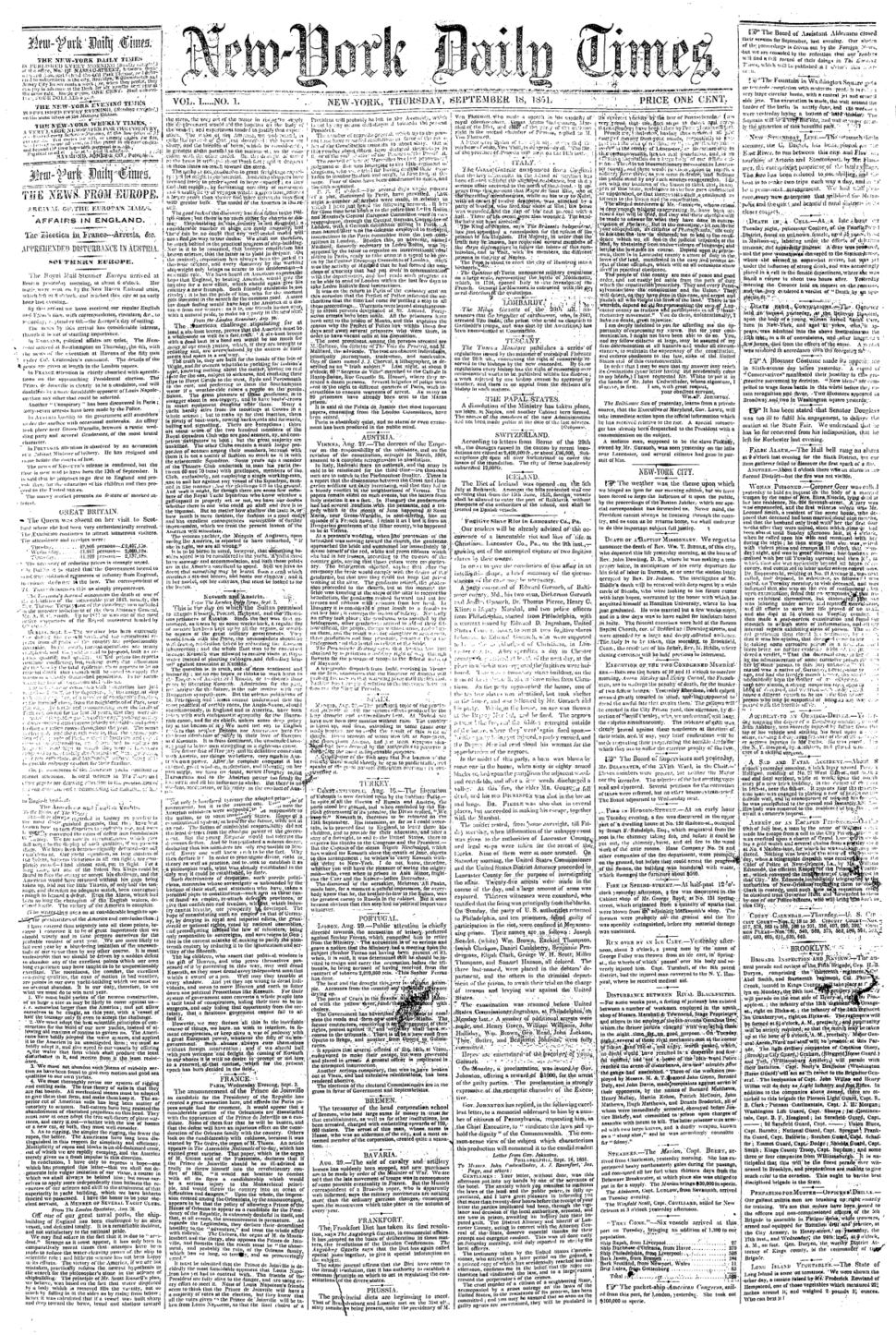 First NYTimes frontpage (1851-9-18)