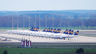 15 aircraft of Lufthansa that are parked at Berlin Brandenburg Airport on 21 March 2020 due to the cancellation of 95 percent of all flights of the airline on 19 March 2020 Flugzeuge.Lufthansa.P1056230.jpg