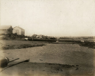 Fort Crockett - Damaged Fort Crockett Parade Ground after 1915 Galveston Hurricane