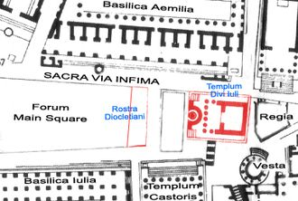 Temple of Caesar - The Roman Forum with plan and  location of the Temple of Divus Iulius and of the Rostra Diocletiani (both in red).