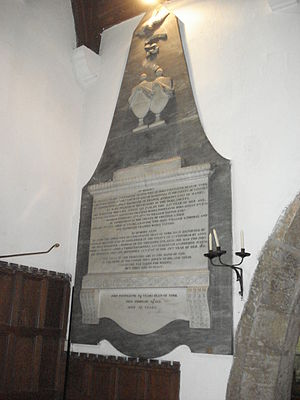 John Fountayne - Memorial to Fountayne and his second and third wives near the altar of St James' Church, High Melton.  The inscription to John Fountayne can be seen alone at the base of the memorial.