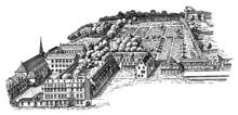 Frankfurt am Main Weißfrauenkirche Anlage mit Garten des Weißen Hirschs, des Anwesens Jakob Gontards, nach Westen 1872 (Quelle: Wikimedia)