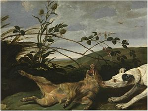 Frans Snyders - A greyhound catching a young wild boar
