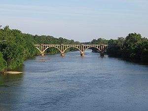 Fredericksburg, Virginia - The RF&P Subdivision rail bridge over the Rappahannock River in 2017