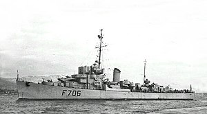 Port side view of French Frigate Tunisien (F706).