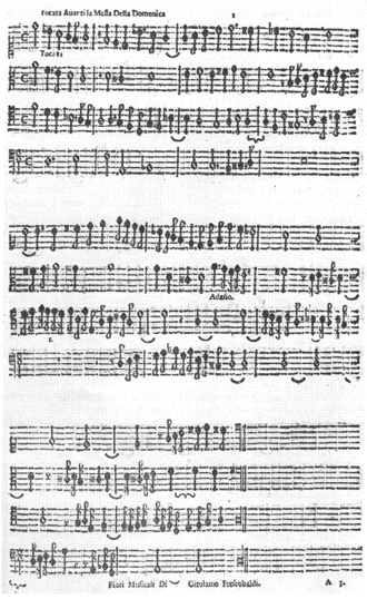 Fiori musicali - Facsimile of the first piece of Fiori musicali: Toccata avanti la Messa della Domenica