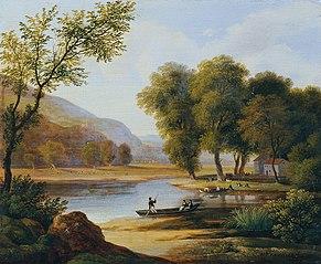 Kahnfahrer in Landschaft